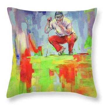 Ueberpruefe Die Luege Des Gruens   Checking The Lie Of The Green Throw Pillow