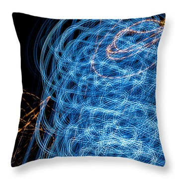 Ufa Neon Abstract Light Painting Sodium #7 Throw Pillow
