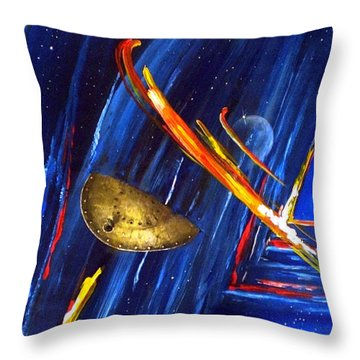 UFO Throw Pillow by Arturas Slapsys