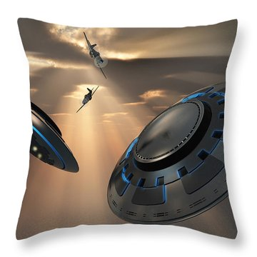 Ufos And Fighter Planes In The Skies Throw Pillow by Mark Stevenson