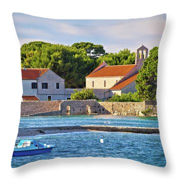 Ugljan Island Village Old Church And Beach View Throw Pillow by Brch Photography