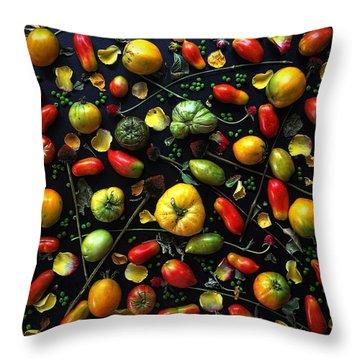 Heirloom Tomato Patterns Throw Pillow
