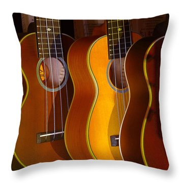 Ukes Throw Pillow by Jim Mathis