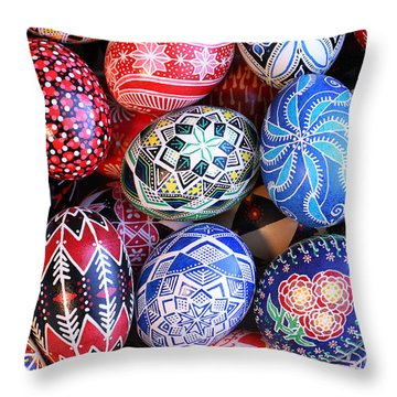 Ukrainian Easter Eggs Throw Pillow by E B Schmidt