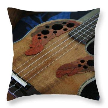 Ukulele Throw Pillow by Sharon Mau