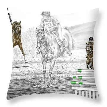 Ultimate Challenge - Horse Eventing Print Color Tinted Throw Pillow