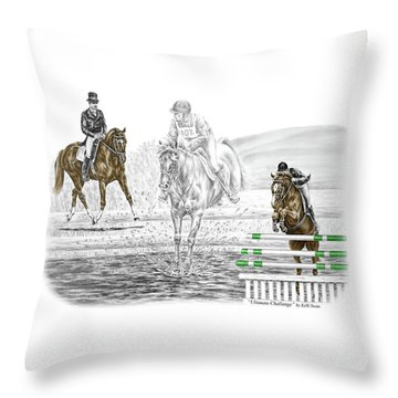 Ultimate Challenge - Horse Eventing Print Color Tinted Throw Pillow by Kelli Swan