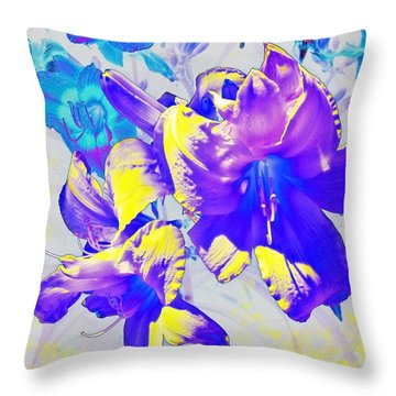 Throw Pillow featuring the photograph Ultraviolet Daylilies by Shawna Rowe