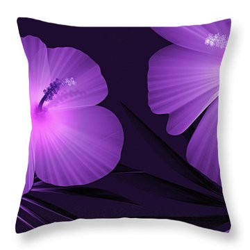 Ultraviolet Hibiscus Tropical Nature Print  Throw Pillow