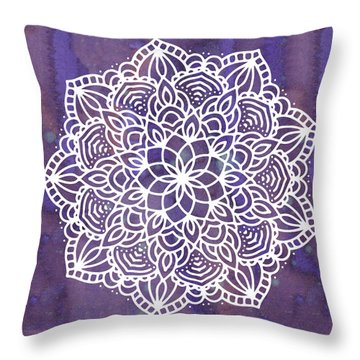 Throw Pillow featuring the digital art Ultraviolet Mandala by Bee-Bee Deigner