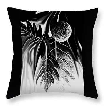 Throw Pillow featuring the digital art Ulu - Breadfruit Abstract by Kerri Ligatich