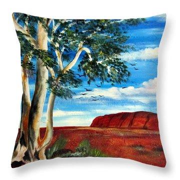 Throw Pillow featuring the painting Uluru Ayers Rock by Roberto Gagliardi