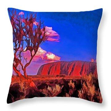 Uluru Throw Pillow by Dennis Cox WorldViews