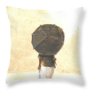 Umbrellas On The Beach Throw Pillows