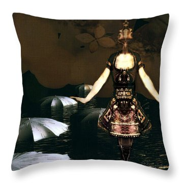 Throw Pillow featuring the digital art Umbrella Dance by Delight Worthyn