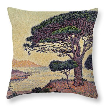 Umbrella Pines At Caroubiers Throw Pillow by Paul Signac