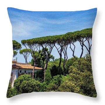 Umbrella Trees In Rome Throw Pillow