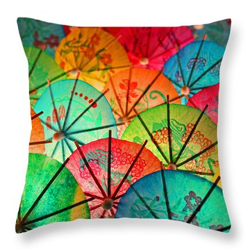 Umbrellas Galore Throw Pillow