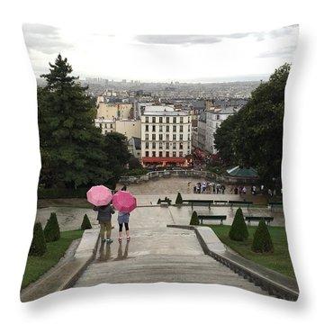 Umbrellas In Paris Throw Pillow by Nancy Medina