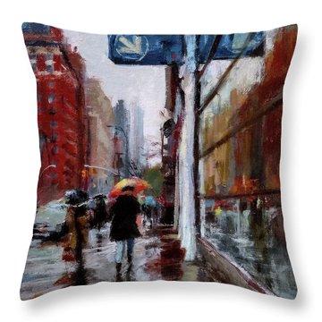 Umbrellas On Amsterdam Aveune Throw Pillow by Peter Salwen