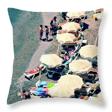 Throw Pillow featuring the photograph Umbrellas On The Beach - Nerja by Mary Machare