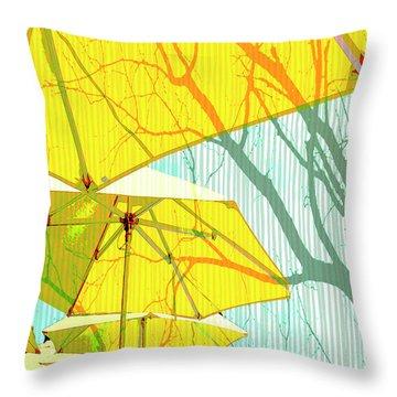 Umbrellas Yellow Throw Pillow