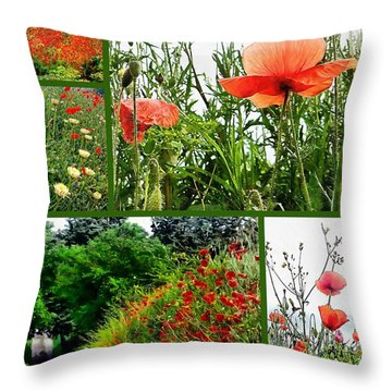 Umbrian Red Poppy Collage Throw Pillow