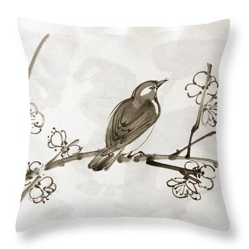 Ume Uguisu Throw Pillow