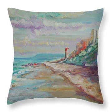 Umhlanga Light House And Beach Throw Pillow