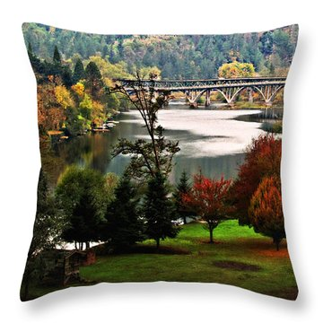 Umpqua Bridge In The Fall Throw Pillow by Katie Wing Vigil