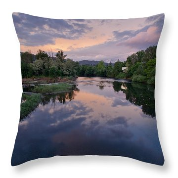 Umpqua River At Sunset Throw Pillow by Greg Nyquist
