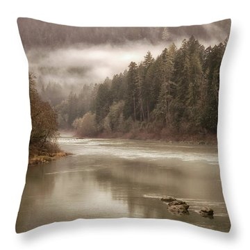 Umpqua River Fog Throw Pillow