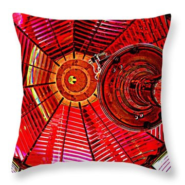Umpqua River Lighthouse Lens In Hdr Throw Pillow by Nick Kloepping