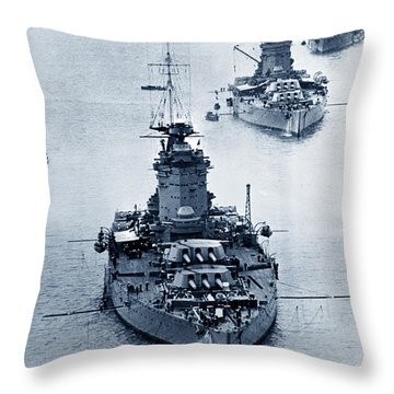 Hms Nelson And Hms Rodney Battleships And Battlecruisers Hms Hood Circa 1941 Throw Pillow