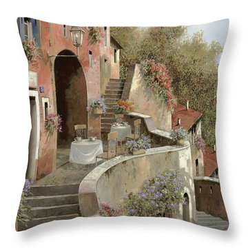 Un Caffe Al Fresco Sulla Salita Throw Pillow by Guido Borelli
