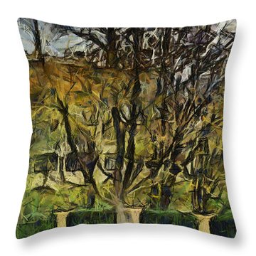 Un Cheteau Dans Le Paradis - One Of Two  Throw Pillow by Sir Josef - Social Critic -  Maha Art