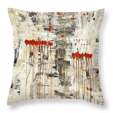 Throw Pillow featuring the painting Un Pour Tous by Carmen Guedez