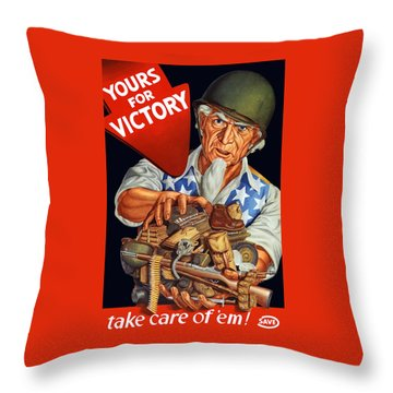 Uncle Sam - Yours For Victory Throw Pillow by War Is Hell Store