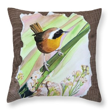 Uncommon Yellowthroat Throw Pillow