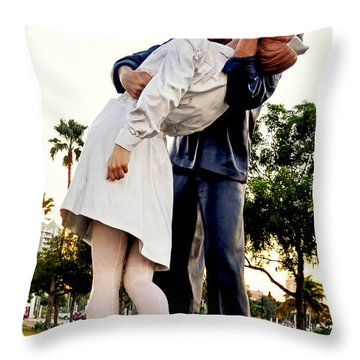 Unconditional Surrender Statue - Sarasota 001 Throw Pillow by George Bostian
