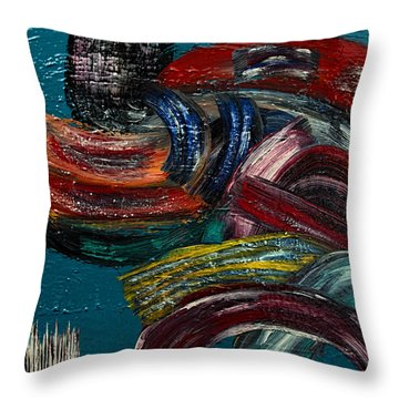 Throw Pillow featuring the painting Paths To Choose- Painting by Renee Anderson