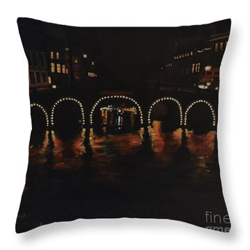 Under A Lighted Bridge In Amsterdam Throw Pillow