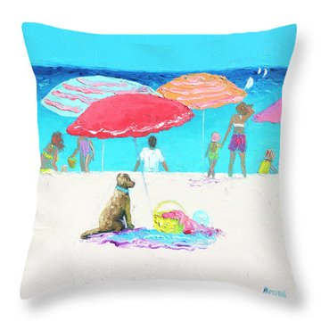 Under A Red Umbrella Throw Pillow