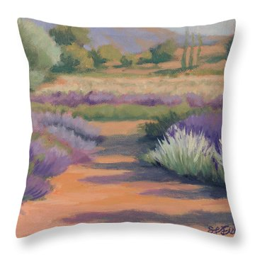 Under A Summer Sun In Lavender Fields Throw Pillow