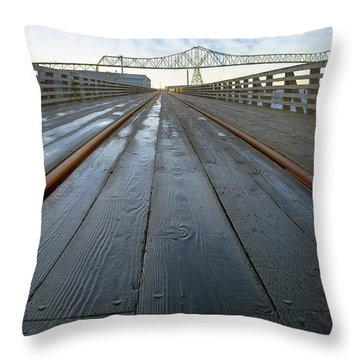 Under Astoria Megler Bridge On Riverwalk Throw Pillow