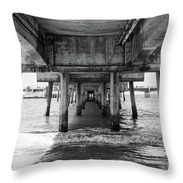 Under Belmont Veterans Memorial Pier Throw Pillow