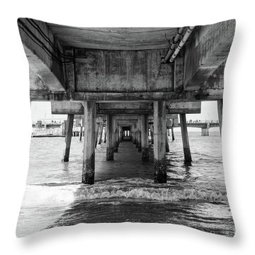 Under Belmont Veterans Memorial Pier Throw Pillow