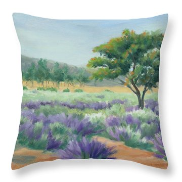 Under Blue Skies In Lavender Fields Throw Pillow
