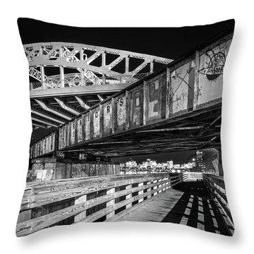 Under Boston University Bridge Throw Pillow