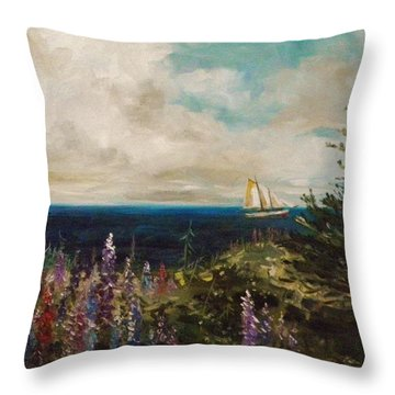 Under Full Sail Throw Pillow by John Williams